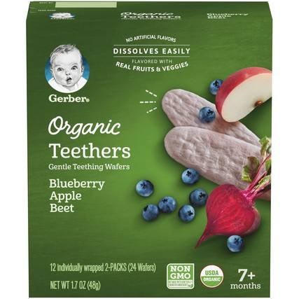 Gerber Organic Teethers Blueberry Apple Beet 2 ct Pack