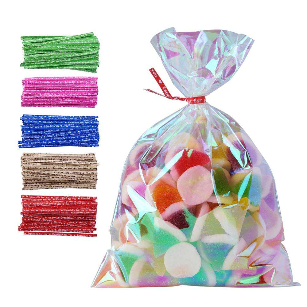 "5X7 ""Iridescent Holographic Cellophane Party Favor Treat Bags mit Twist Ties Good für Themed Celebrations Valentine Day"
