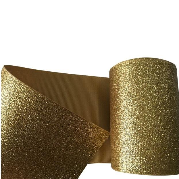 MOQ 1 ROLL Wholesale 3 inch grosgrain chunky glitter ribbon
