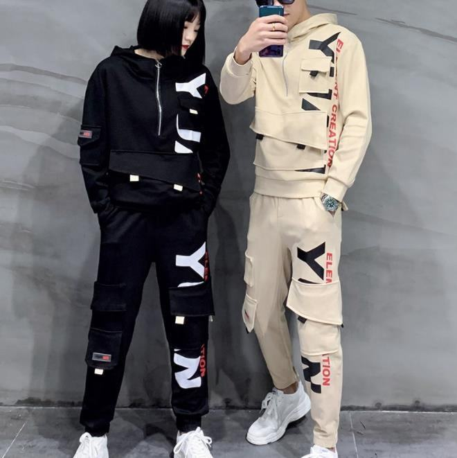 2021 Unisex Long Sleeve Printed LOGO Casual Two-pieces Set With Hood Tracksuits