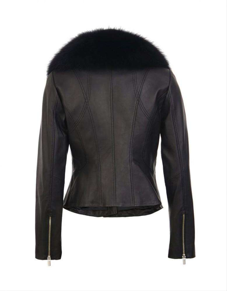 Wholesaler Women's Genuine Lambskin Leather Jacket With Real Fur For Spring And Autumn Women