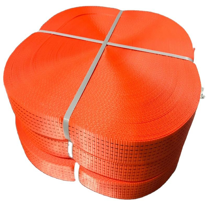 50mm BS 5000kgs orange with 5 black line polyester webbing strap