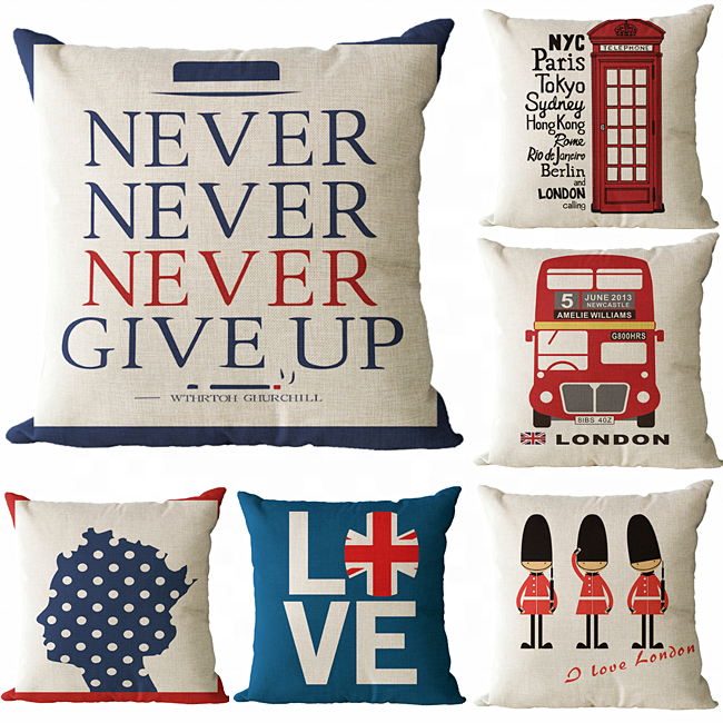 London design customized 3D digital printed cushion cover, pillow case