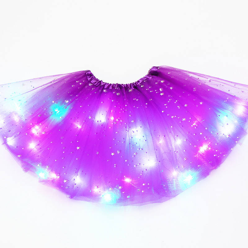 2019 New design fashion solid color baby girls dance ballet LED shine tutu skirt wholesale