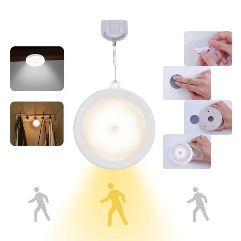 human battery round body 220v night kitchen lamp wardrobe bulb pir under wall closet cabinet motion led sensor light for stairs