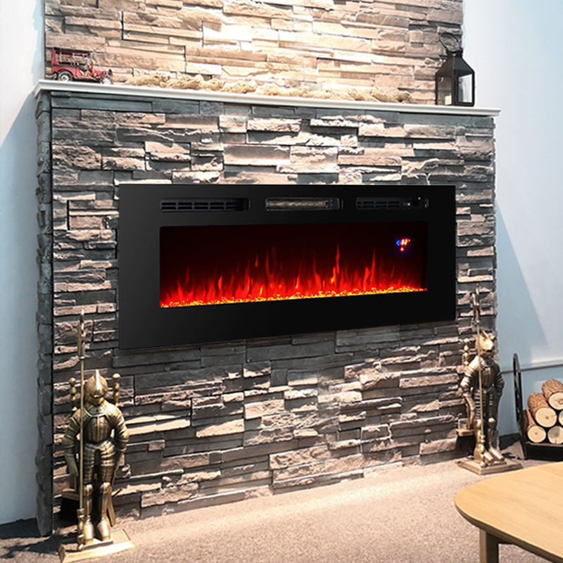 "50"" Super Large decor flame Wall mounted recessed steel modern electric fireplace for sale"