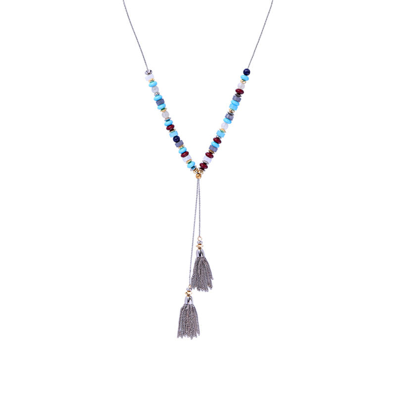 x9102011 2020 Trends Ins Style Free Shipping Rhodium Color Best Friend Acrylic Beaded Adjustable Tassel Lariet Necklace