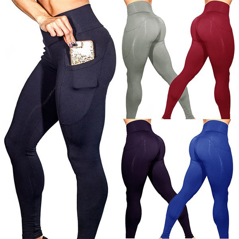 Custom women high waist yoga pants seamless leggings gym fitness yoga pants with pockets
