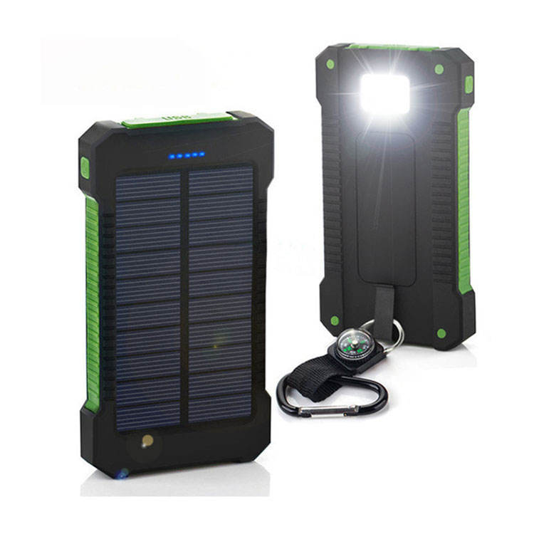 Solar Power Bank Ganda USB Power Bank 20000 mAh Tahan Air Charger Baterai Eksternal Portabel Panel Surya dengan Lampu LED