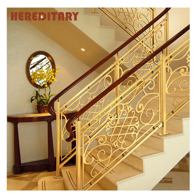 Indoor royal aluminum staircase art stainless steel mirror luxury balusters