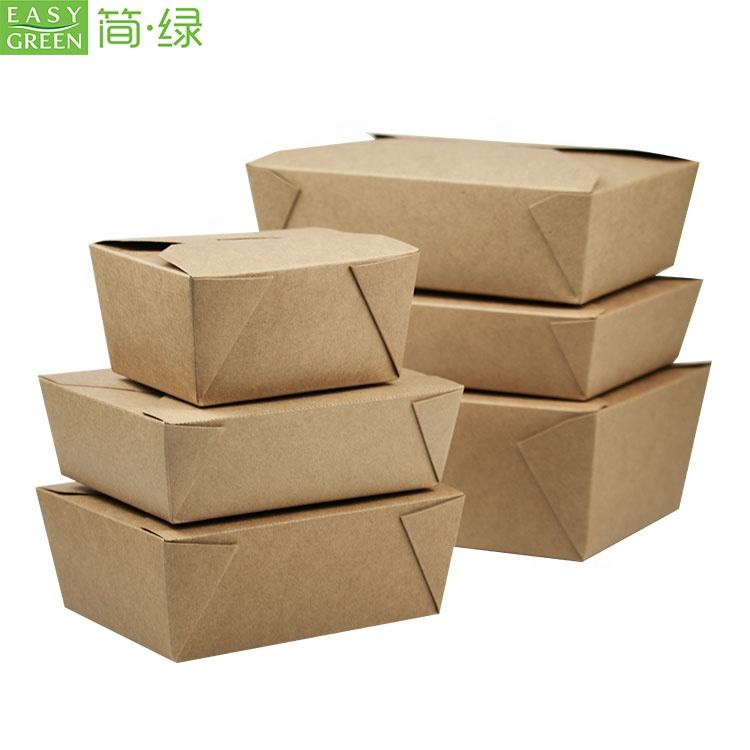 One-Stop Service Easy Green Original Color Kraft Paper Container Food Take Away Package Boxes