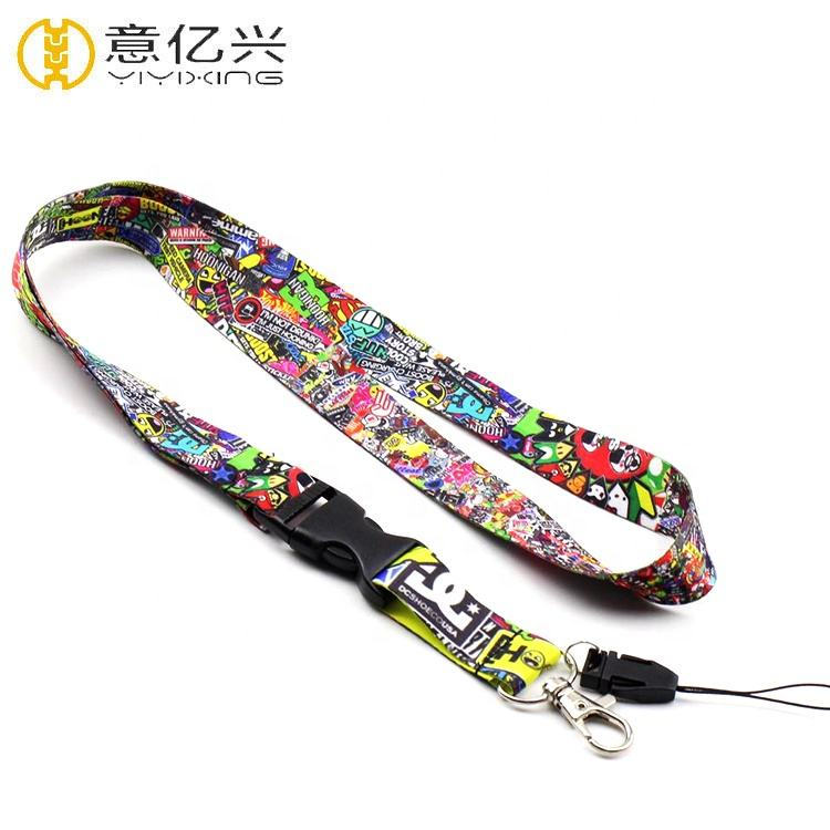 Custom Sublimation Japanese Anime Cartoon Design Lanyard With Hook