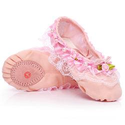 Lace lace handmade decoration girls canvas soft bottom cat claw design ballet dance shoes  slipper gymnastics shoe
