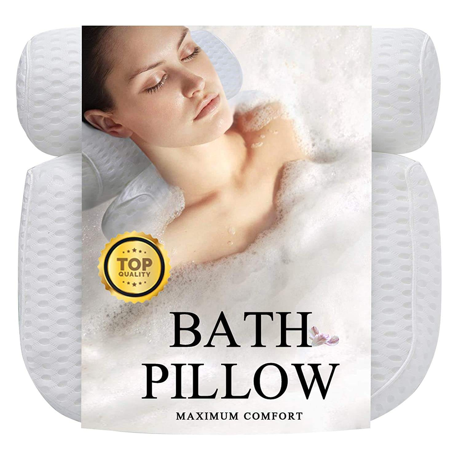 High quality luxury comfortable white 4d mesh spa full bath pillow for tub
