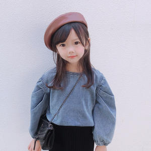 2020 Autumn New Kid Girl Sweater Fashion Children Girl Blue Denim Puff Sleeve Clothes for 2-7T