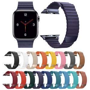 IVANHOE For Apple Watch Band 42mm 38mm 44mm 40mm Series 5/4/3/2,Strong Magnetic Leather Loop Strap Wristband for iWatch Band