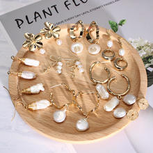 Barlaycs 2019 New Fashion Hotsale Statement Freshwater Pearl Gold Plated Drop Dangle Earrings for Women Jewelry
