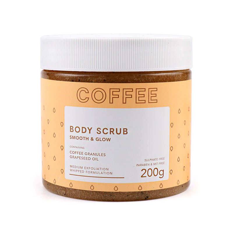 Wholesale Oem Whitening Exfoliating Natural Organic Coconut Ingredient Cocoa Arabica Coffee Bean Body Scrub For Private Label
