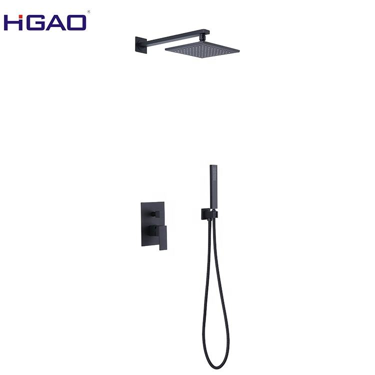HGAO Pressure Balancing Rain Shower System Rough-in Valve Trim Kit Complete Set Square Matt Black Shower Faucet
