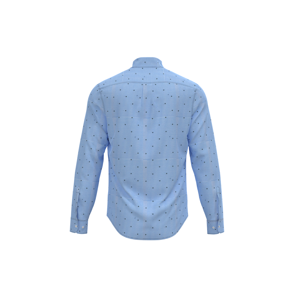 Fashion-Forward Long Sleeve Blue Star Prints Latest Casual Shirts Designs For Men