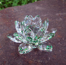 Green Crystal Glass Art Lotus Flower MH-H0112