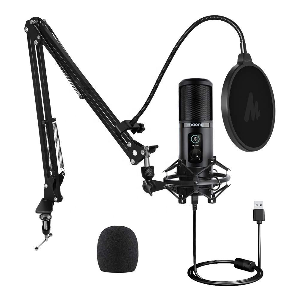 MAONO USB Microphone 192KHZ/24BIT Professional Condenser Podcast Mic with One-Touch Mute and Mic Gain Knob