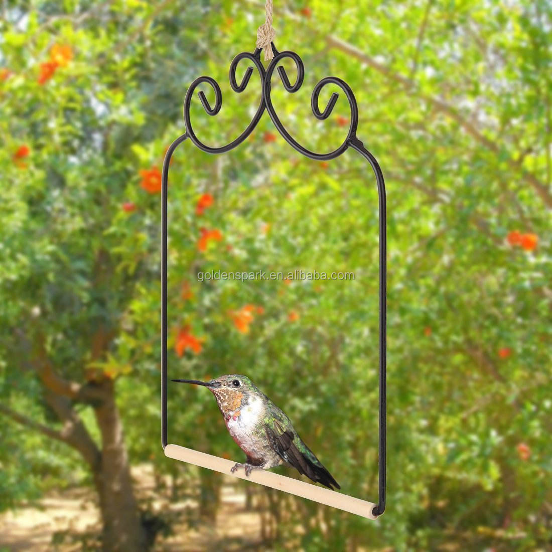 Hummingbird Swing. Metal Frame Hummingbird Swing with Wooden Dowel