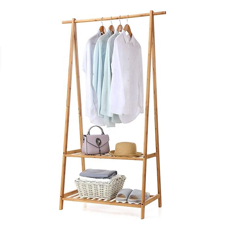Portable Super Large Clothing bamboo cloth drying hanger rack with 2 Wheel Entrance