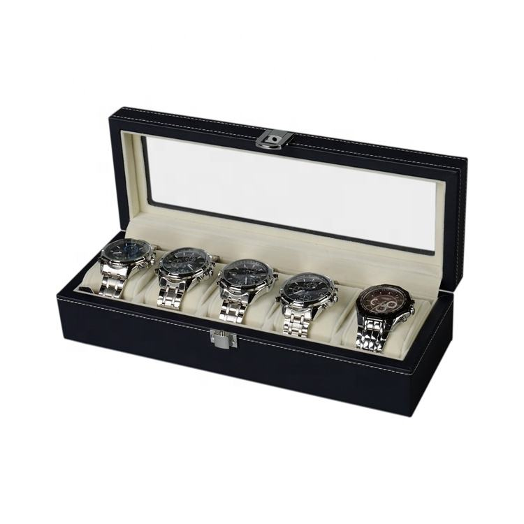 DS 5 Slots Vintage Black Wood Watch Box with Display Window Customized Wooden Watch Storage Case