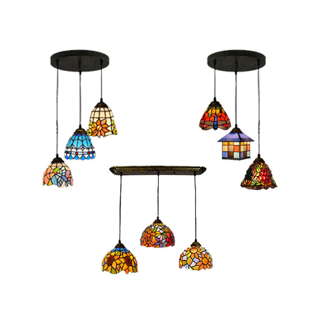 Lamp Stain Stainglass Vintage Tiffany Tifany Lamps Hanging Pendant Style Tiffanylamp Suspendu Stained Glass Chandelier