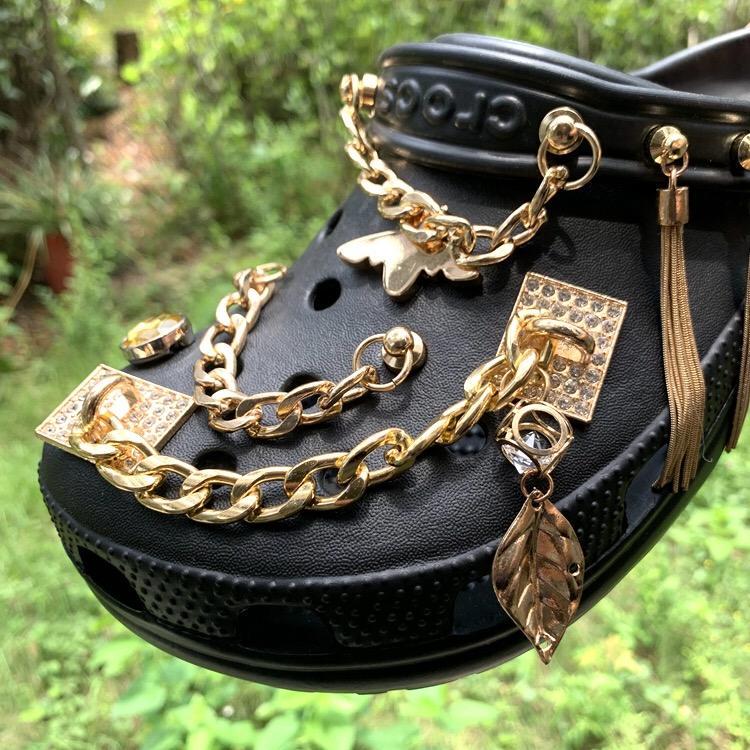 Hot sale heavy metal rock chain charms decoration accessories suitable for croc shoes