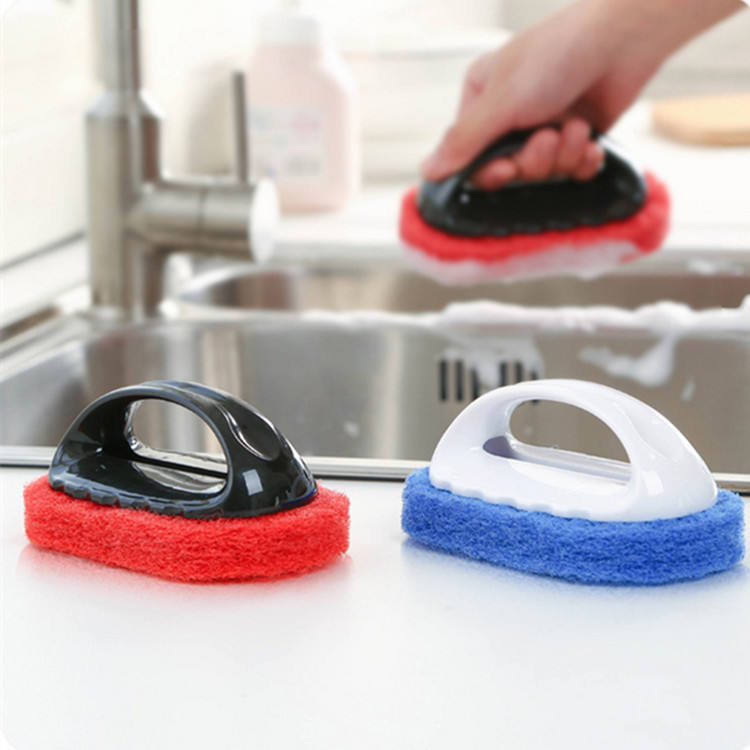 Kitchen cleaning rust brush with handle sponge diamond tile brush strong decontamination wash pot brush cleaning tool