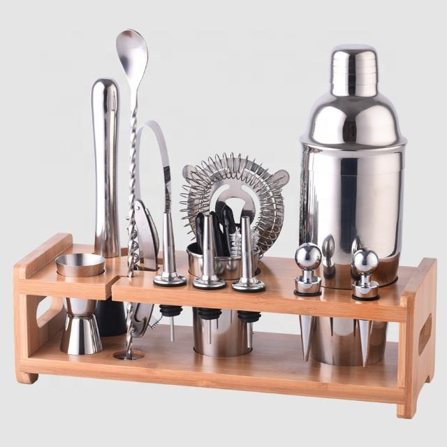 Factory Direct 800ml stainless steel professional bartender bar set tools cocktail shaker bartender kit with bamboo wood stand