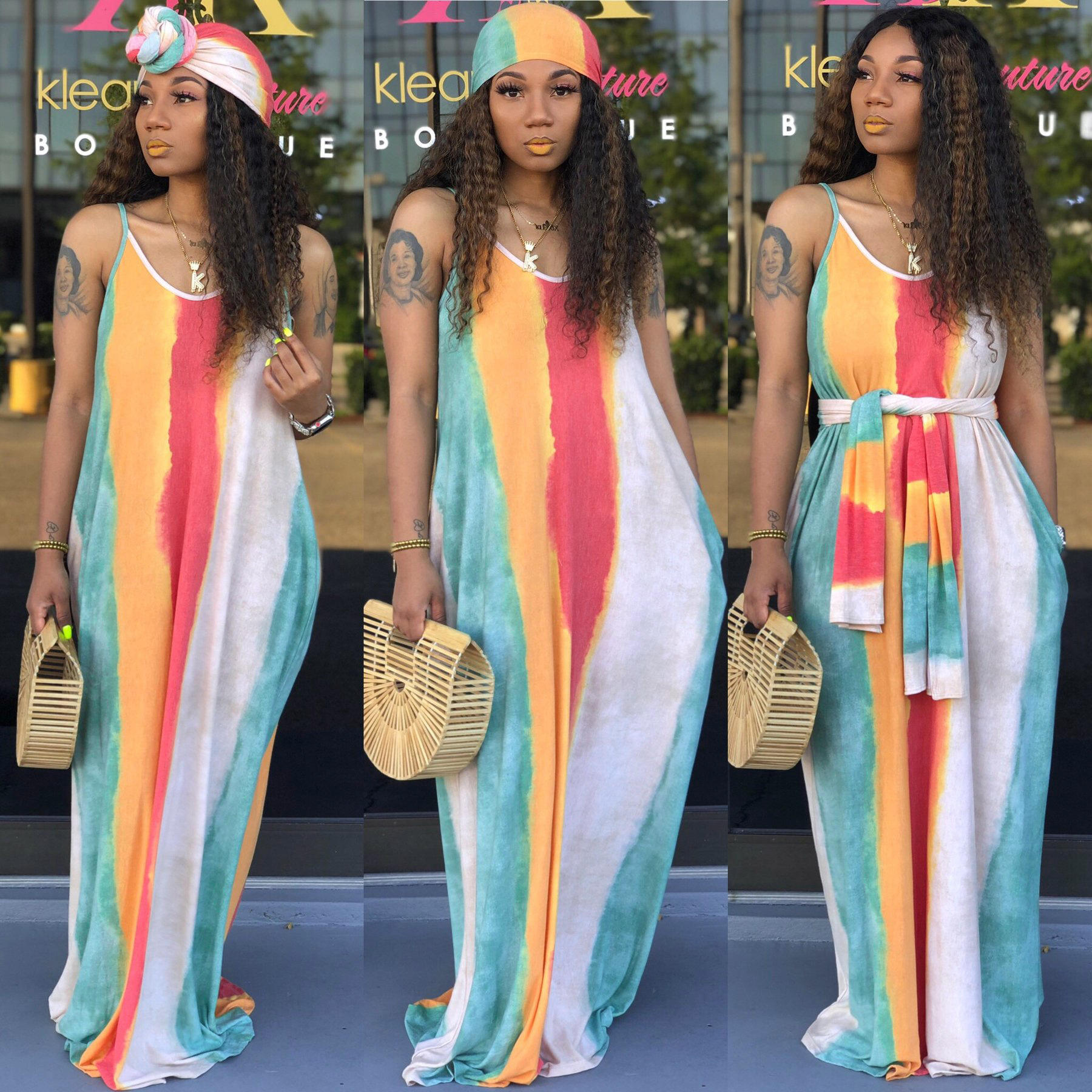 2020 Women's Plus Size Summer Dress Spaghetti Straps Dress Striped Colorful Long Casual Maxi Dress