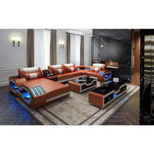 Orange color genuine leather sofa set sectionals & loveseats