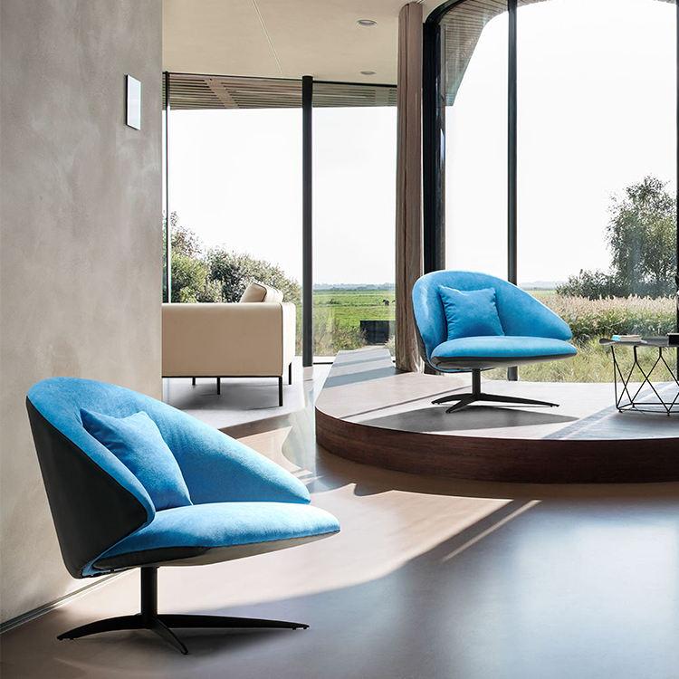 <span class=keywords><strong>Qualité</strong></span> supérieure rembourrée en tissu en métal base jambe hôtel moderne salon chaise pivotante de loisirs
