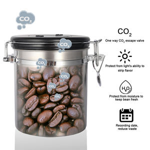 Highwin Factory 750g Stainless Steel Black Painting Airtight Coffee Canister Set With Co2 Valve/date Airtight Storage Canister