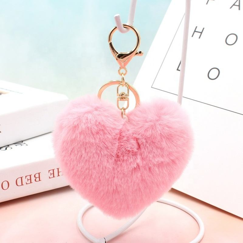 10cm Fluffy Fur Pompom Keychain Soft PINK Heart Shape Pom pom Key chain Faux Rabbit Fur Ball Womens Bag Charm Keyring Keychains
