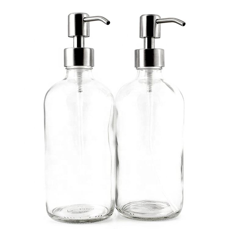 16 oz Clear Glass Boston Round Bottles With Stainless Steel Pumps Soap Dispenser Great for Essential Oils, Lotions, Liquid Soap
