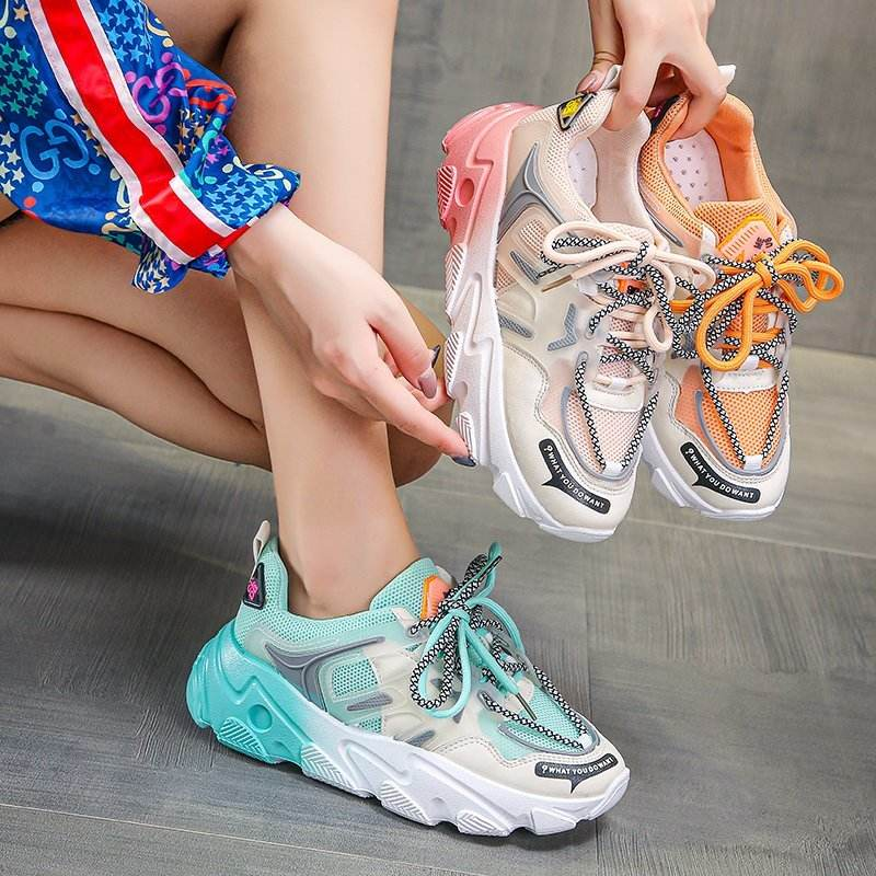 Women Lace Up Sneakers Women's Light Breathable Fashion Shoes Mesh Vulcanized Mixed Color Ladies Female Footwear Comfort Sneaker