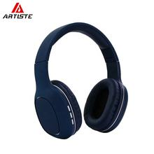 Dark Blue Head Phones Wireless Head Sets With Mic