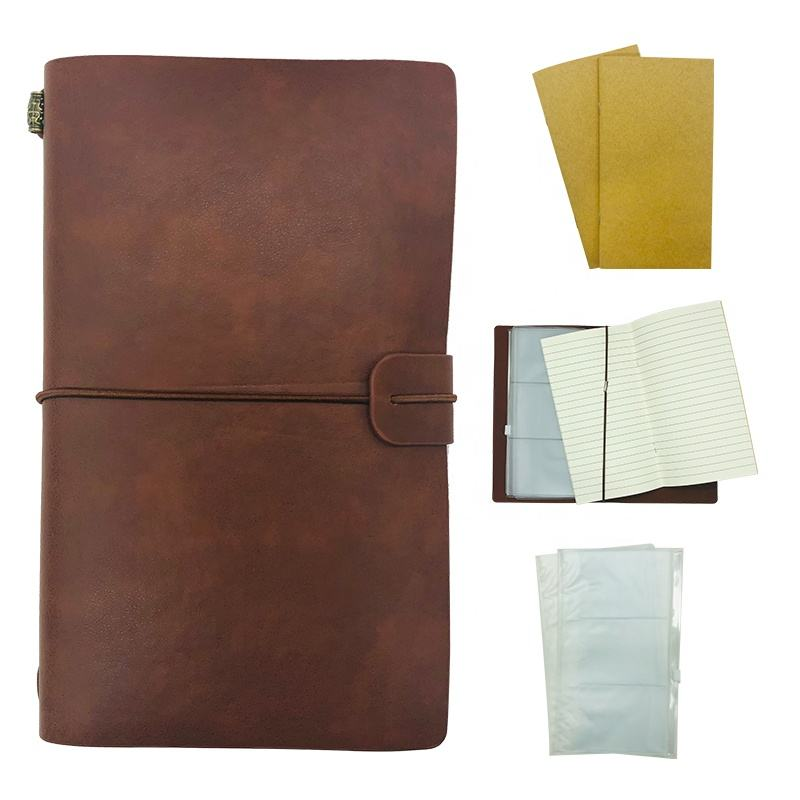 Journal Notebook for Travel Refillable Quality Thick Paper (120gsm, Ruled & Plain), Removable Inner Pouch Bags, Gift Diary