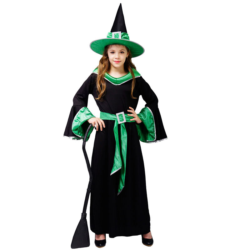 Halloween Carnival Party Girls Green Witch Costume Beauty Elegant Long Witch Dress For Girls