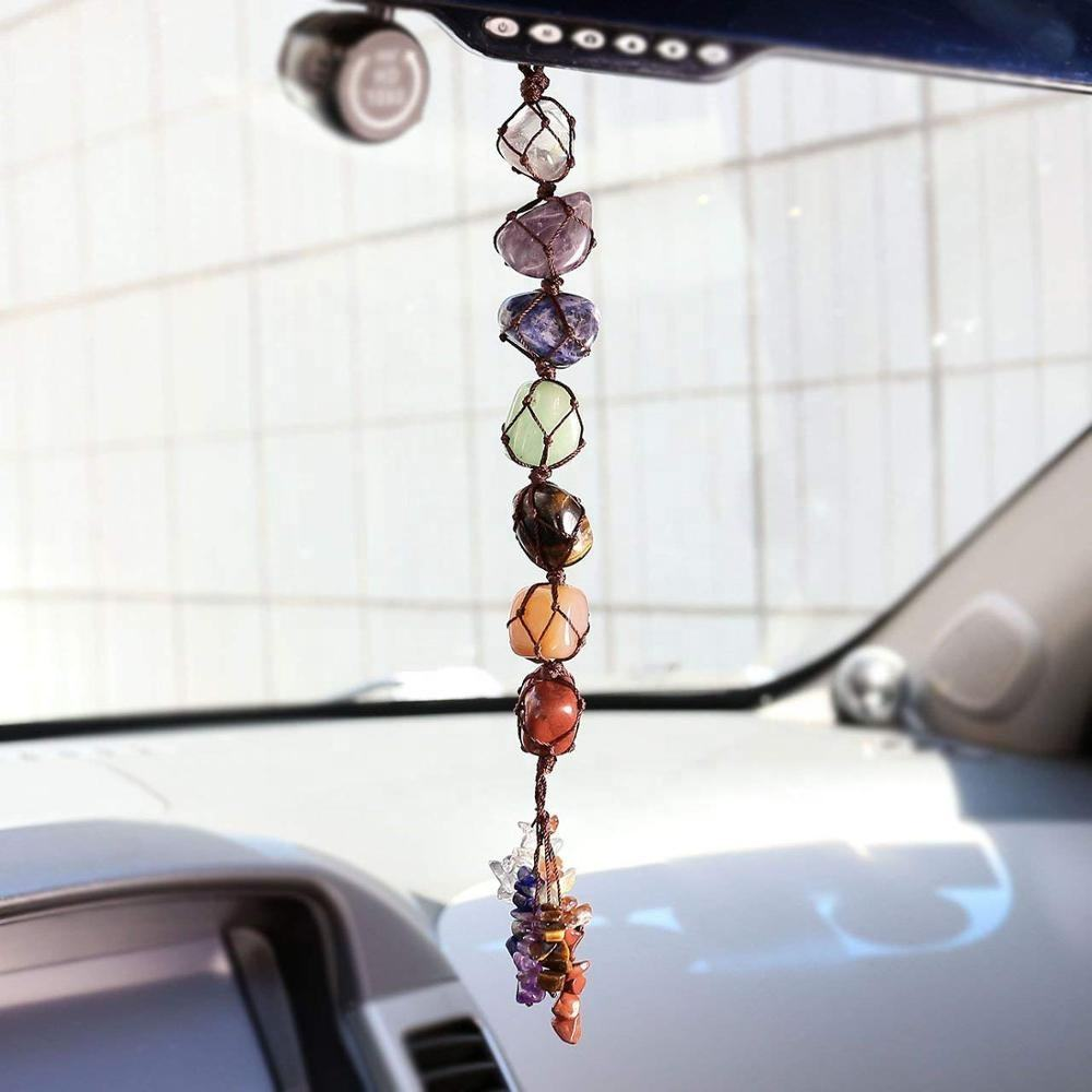 crystal tumble stones 7 Chakra Pendant for Home or Car dropship available