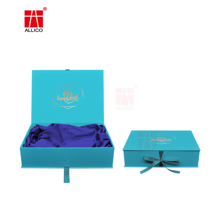 Custom Hot Stamping Cardboard Hair Bundles Packaging Box Hair Extension Wig Magnetic Gift Box With Ribbon For Wig Accessories