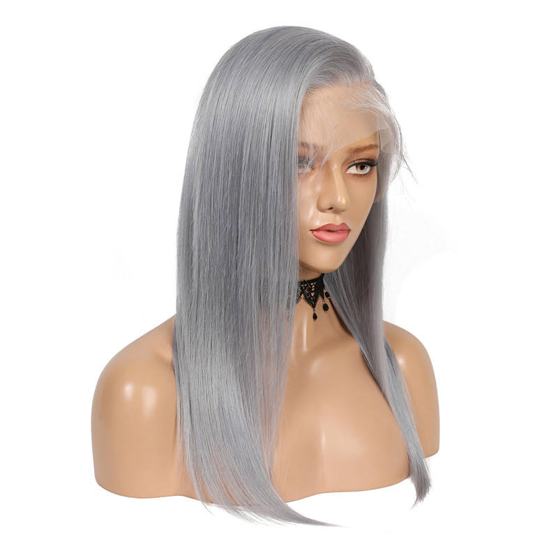 Straight [ Full Lace Wig Silky ] Virgin Hair 360 Lace Wig Wholesale Pre Plucked 360 Full Lace Wig #Grey Silky Straight Virgin Human Hair Glueless Lace Frontal Wig