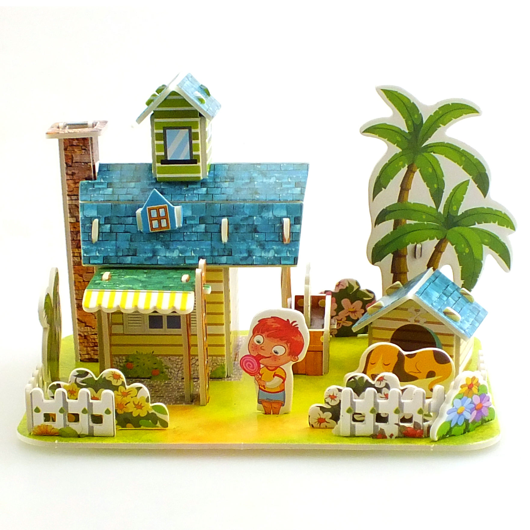 Custom DIY latest paper puzzle 3D Tropical Cabin AISHANGPIN KT BOARD PUZZLE MODEL