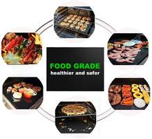 Food contact safe heat resistant nonstick BBQ grill mat set