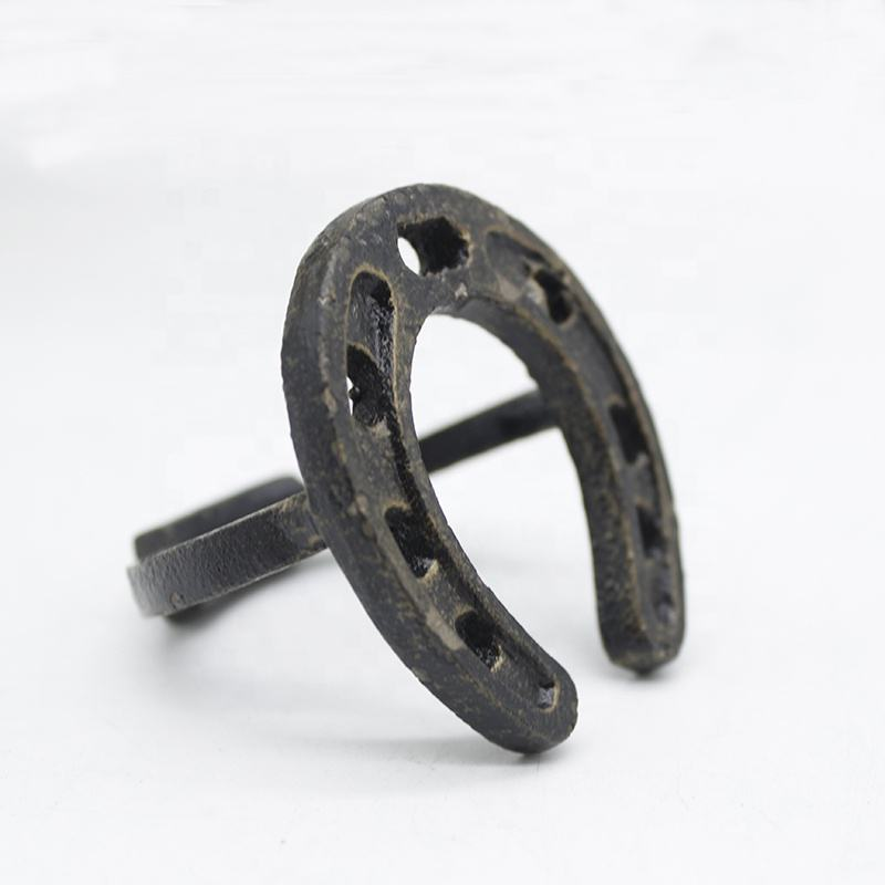 Decorative metal horseshoe napkin ring vintage cast iron table top ornament antique color factory price