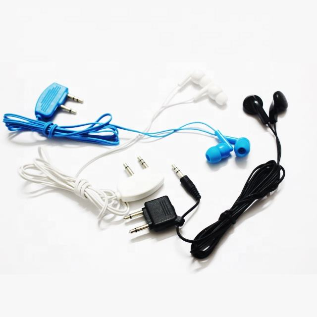 Cheap Price Disposable airline Headset in Ear Aviation Used Earphones Own factory low price disposable airline earphones